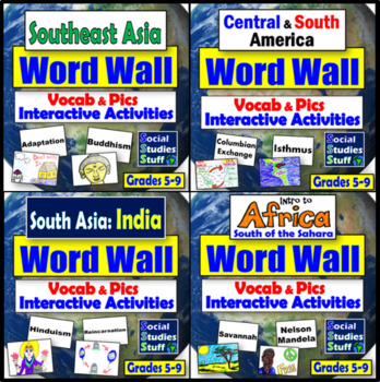 Word Walls by World Region-  8 sets for the Whole Year!