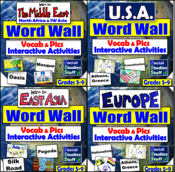 Word Wall Bundle World Regions & Activity Ideas - Geography, Culture,  Government