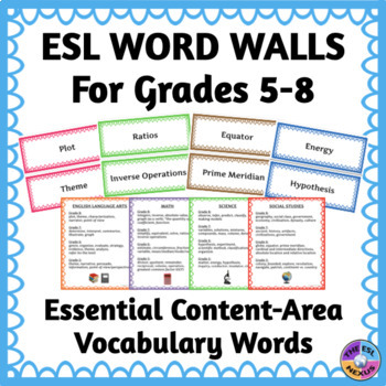 Word Walls for ELLs for Essential Content-Area Vocabulary for Grades 5 - 8