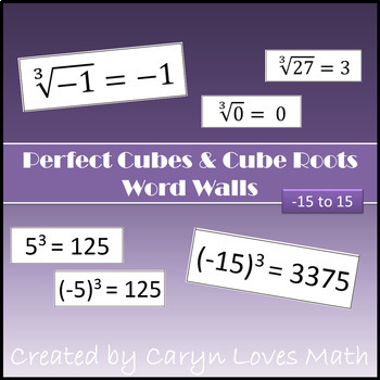 Perfect Cubes and Perfect Cube Roots Posters