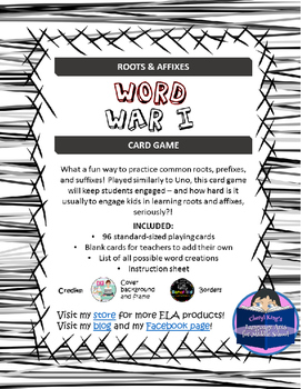 Word War I: Roots & Affixes Card Game