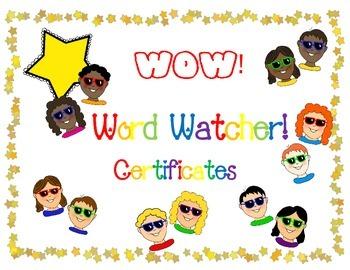 Word Watcher Certificate--Sampler
