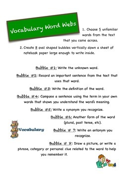 Word Webs Vocabulary Activity for any class