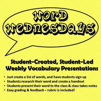 Word Wednesdays Student Vocabulary Presentations and Handouts