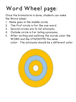Word Wheel (Working with synonyms and antonyms)