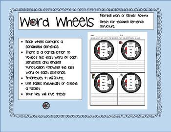 Word Wheels: A Unique Sentence Scramble Idea! Center or Morning Word