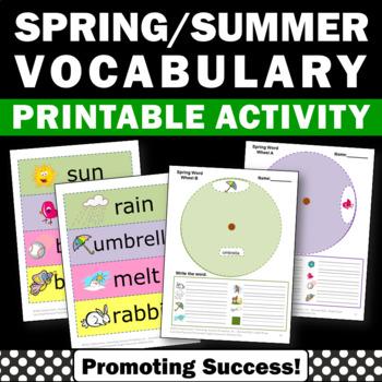 Spring or Summer School Literacy Activities, Word Wheel, V
