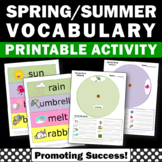 Vocabulary Wheel, Spring Word Wall Words