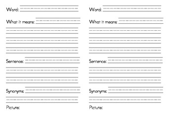 Word Wise (Vocabulary Journal Template)