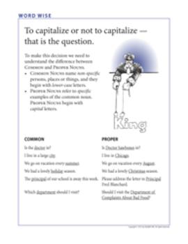 Word Wise poster: Capitalization - Common vs. Proper Nouns