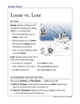 Word Wise poster: Lose vs. Loose