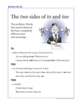 Word Wise poster: Two, too, and to