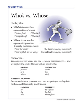 Word Wise poster: Who's vs. Whose