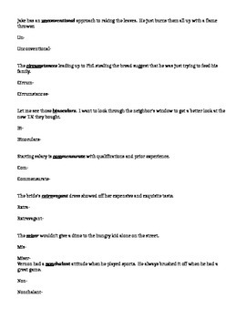 Word Within a Word List 1 Worksheet