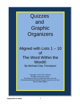 Word Within the Word Graphic Organizers and Quizzes, Lists 1-10