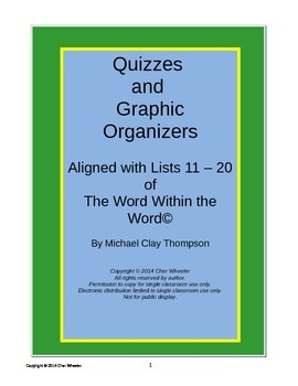 Word Within the Word Graphic Organizers and Quizzes, Lists 11-20