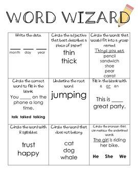 Word Wizard ELA & Grammar Practice #2