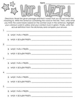 Word Wizard Worksheet- Centers, Literacy, Workstations, Independent Work
