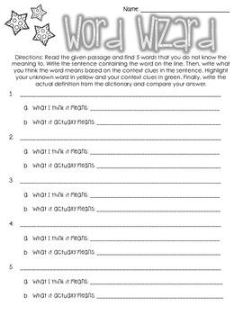 Word Wizard Worksheet- Centers, Literacy, Workstations, Independent Work