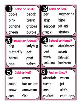 Word Work Classify & Categorize