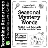 Word Work Activity Worksheets - 12 Seasonal Mystery Words