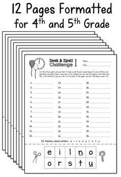 Word Work Activity Worksheets - Seasonal Mystery Words (Set 4)