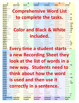 Word Work Activities for the Whole Year 5th Grade