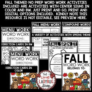 Fall Word Work Activities & Spelling Centers