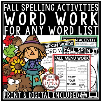 Fall Word Work Centers & Spelling Activities for Any List of Words
