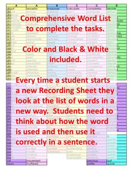 Word Work Activities for the Whole Year 4th Grade