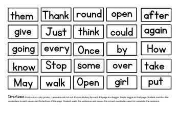 Word Work: 1st Grade Dolch Word Sentences