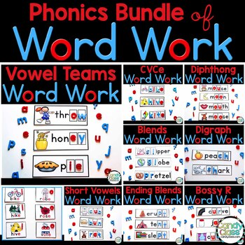 Word Work Phonics Centers: Vowel Teams, Bossy R, Blends & More (Reading Centers)