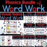 Word Work Phonics Centers: Vowel Teams, Bossy R, Blends &