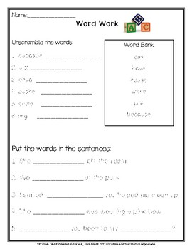 Word Work- girl, because, just, have, house