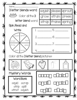Word Work: 3 Letter Blends Review