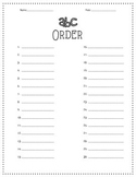 Word Work:  ABC Order