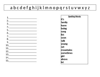 Word Work ABC Order
