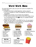 Words Their Way (Word Work) Activities and Menu Board