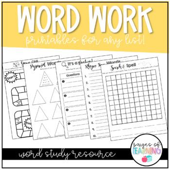 Word Work Activities Packet
