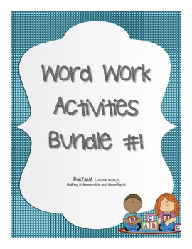 Word Work Spelling Activities - Bundle #1 (11 activities)