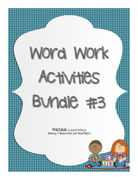 Word Work Spelling Activities - Bundle #3 (11 activities)