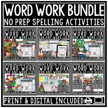 Spelling Activities: for Any List of Words Work Activities & Distance Learning