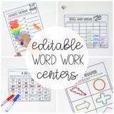 Word Work Activities - EDITABLE