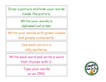 Word Work Activities Freebie