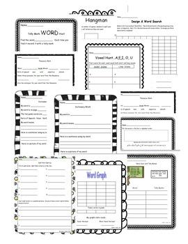 Word Work Activities ~ Literacy Centers