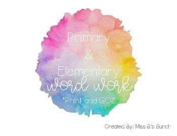 Word Work Activities NO PREP