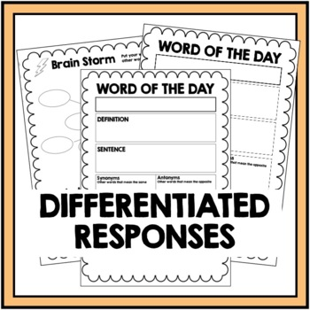 Word Work Activities - Word of the Day  - Vocabulary Focus - Reading Groups