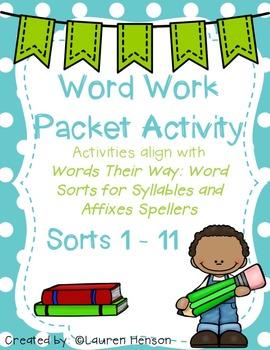 Word Work Activities (Words Their Way Sort 1 - 11)