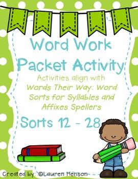 Word Work Activities (Words Their Way Sort 12 - 28 Green Book)