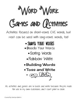 Word Work Activities and Games Bundle